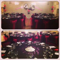 #nicheevents #40thbirthday #birthday #celebrations #blackandpinktheme #chaircovers #party #picoftheday #photooftheday #instalike #birthdayballoons #balloons #confetti #pigonthehill