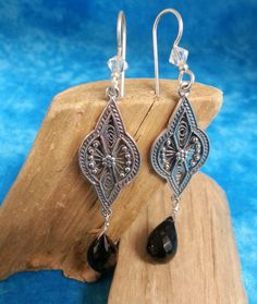 Intricate Sterling Silver/Black Spinel Earrings