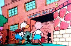 Grupo escolar de Patópolis, ilustração de Walt Disney.