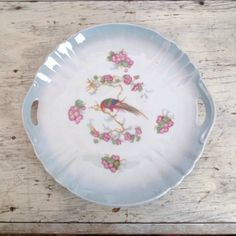 Vintage peacock and floral plate Germany by ImSoVintage on Etsy, $14.00