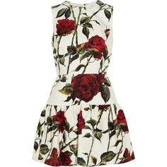 Dolce & Gabbana Floral-print cotton-blend brocade mini dress (10.825 BRL) ❤ liked on Polyvore featuring dresses, vestidos, short dresses, robe, ivory, white fitted dress, white floral dress, dolce gabbana dresses, floral mini dress and white mini dress
