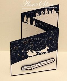 Jingle All the Way Navy Trifold Angle by fauxme - Cards and Paper Crafts at Splitcoaststampers