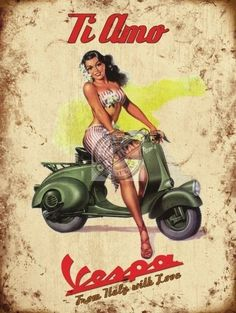 Retro Metal Wall Sign Tin Plaque Vintage Style Vespa Scooter Old Fashioned Bike