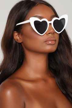 Appreciate The Heart Sunglasses - White, Sunglasses Round Lens Sunglasses, Cute Sunglasses, Trending Sunglasses, Sunglasses Women, Sunnies, Vintage Sunglasses, Oversized Sunglasses, Heart Shaped Glasses, Heart Glasses