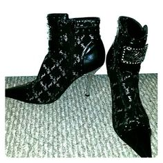 Booties Black and silver 3 inch booties Baby Phat Shoes Ankle Boots & Booties