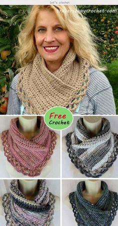 Crochet Cowl Free Pattern, Crochet Poncho, Crochet Scarves, Crochet Clothes, Crochet Stitches, Crochet Hooks, Free Crochet, Crochet Patterns, Crocheted Scarves Free Patterns
