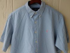 $25 + Free shipping Men's Polo Ralph Lauren Blue White Checks Cotton Short Sleeve Shirt Size XL #PoloRalphLauren #ButtonFront