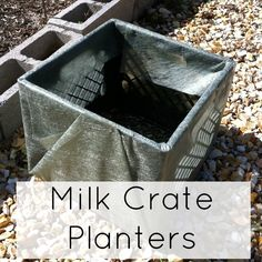 Milk Crate Planters - She has the landscape fabric on the outside - I saw a show where they used milk crates but they put the landscape fabric on the inside - which I think is a better idea. You still have the handles accessible so you can move them around and the fabric provides a barrier from the plastic.