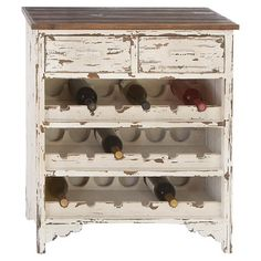 Give your den or dining room arustic touch with thiseye-catching 18-bottle wine cabinet, highlighted bya weathered white finish and 2 drawers.