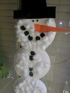 Paper Plate Snowman-  paper plates, cotton balls, googly eyes, construction paper, sticks for the arms