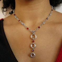 Custom Made Mobius Chainmaille Necklace In Bright Aluminum With Red Fire-Polished Glass Beads Wire Wrapped Jewelry, Metal Jewelry, Pendant Jewelry, Beaded Jewelry, Handmade Jewelry, Jewellery, Jump Ring Jewelry, Chainmaille Bracelet, Diy Necklace