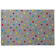 Kids' Rugs: Kids' Multi Color Dot Candy Grey Rug in Patterned Rugs