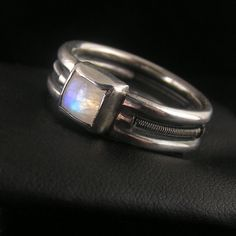 Orbiting moon - sterling silver ring with moonstone cabochon - by Anna Rei