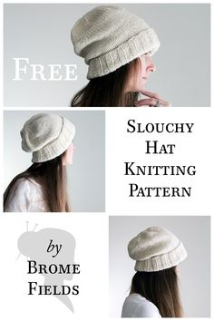 FREE Slouchy Hat Knitting Pattern by Brome Fields.