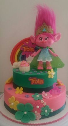 troll cake by Yary's Cakes Twin Birthday, Birthday Fun, Trolls Birthday Party Ideas Cake, Birthday Ideas, Bolo Trolls, Trolls Cakes, Bolo Do Mario, Bolo Fake Eva, Troll Party