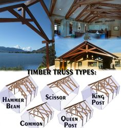 ideas for wood frame construction exposed beams Timber Roof, Timber Buildings, Timber Beams, Timber House, Outdoor Buildings, Timber Frame Garage, Timber Frame Home Plans, Timber Frame Homes, Exposed Trusses