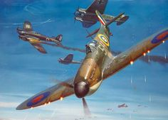 Spitfire by Roy Grinnell The Legendary Supermarine Spitfire in combat during the Battle of Britain. Ww2 Aircraft, Fighter Aircraft, Military Aircraft, Fighter Jets, Me262, Mustang, Military Drawings, The Spitfires, Aircraft Painting