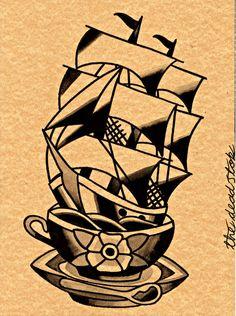 Teacup ship Tattoo flash