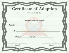 Adoption Certificate | ADOPTION CERTIFICATE TEMPLATES | Pinterest ...