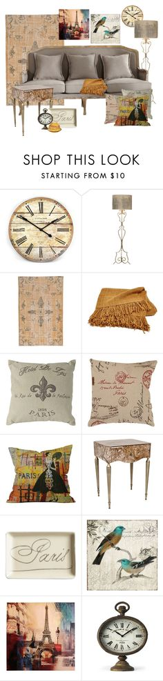"""""""Parisian emphemera inspired"""" by krskinner ❤ liked on Polyvore featuring interior, interiors, interior design, home, home decor, interior decorating, WALL, 1921, Pillow Perfect and DENY Designs"""