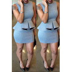 USD9.99Casual O Neck Short Sleeves Grey Qmilch Sheath Knee Length Peplum Dress @AnnieLoveAJ☽♥☾