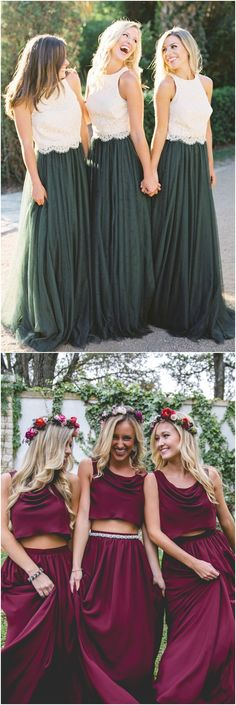 Two piece bridesmaid dresses#weddings #dresses #weddingideas #bridesmaids ❤️ http://www.deerpearlflowers.com/bridesmaid-dress-trends-for-2018/