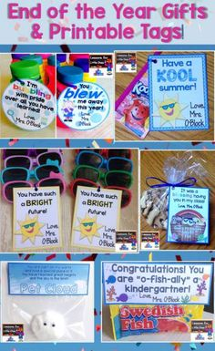 End of the School Year Student Gifts & Free Printable Tags - a collection of easy & affordable students gifts for the end of the school year along with free editable & printable gift tags. http://lessons4littleones.com/2016/04/13/end-of-the-year-student-gifts-gift-tags/