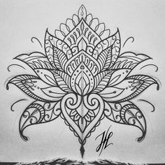 Ornamental mandala mehndi lotus design by Marjorianne