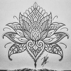 Ornamental mandala mehndi lotus design by Marjorianne