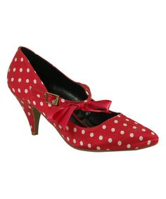 Look at this C Label Coral & White Polka Dot Vicky Pump on #zulily today!