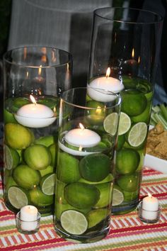 Table decor with limes... perfect for a Margaritaville party!
