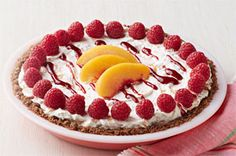 Peach Melba is a classic dessert. Try our easy-to-make No-Bake Peach Melba Pie recipe that brings together peaches and raspberries in a ginger crust. Try this recipe at your next party. Kraft Foods, Kraft Recipes, Pie Recipes, Dessert Recipes, Fruit Dessert, Family Recipes, White Chocolate Cookies, White Chocolate Raspberry, Chocolate Pudding