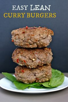 Easy Lean Curry Burgers- A healthy, quick and delicious beef burger recipe which can be subbed for any ground meat- clean eating and ready in 10 minutes!
