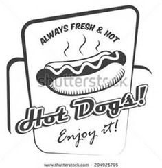 Drawing hot dog fresh fast food enjoy black and white poster template ...