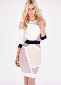 Clothing : Bandage Dresses : 'Nina' Mid Sleeve Cut Out Bandage Dress
