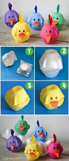 "DIY Spring Chicks Egg Carton Craft from ""Typically Simple"" DIY Spring Chicks Egg Carton Craft If you really like arts and crafts you really will appreciate our info! Easter Crafts For Kids, Toddler Crafts, Preschool Crafts, Diy For Kids, Fun Crafts, Arts And Crafts, Creative Crafts, Stick Crafts, Simple Crafts"