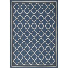 Safavieh Moroccan Indoor/Outdoor Courtyard Navy/Beige Rug (8' x 11') - Overstock Shopping - Great Deals on Safavieh 7x9 - 10x14 Rugs