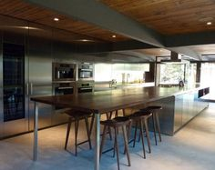 Contemporary kitchen / stainless steel / wood veneer LOS ANGELES USA Boffi