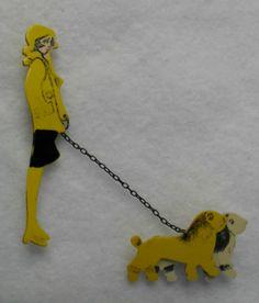 Vintage Bakelite Plastic Lady and Dogs Brooch