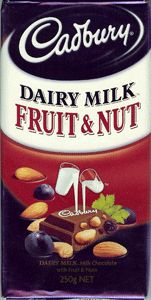 Cadbury Chocolate Fruit Nut 200g. DAIRY MILK FRUIT NUT Dairy milk chocolate with Sultanas and Almonds.