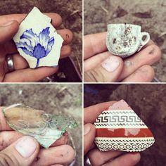 Here is a round up of the coolest artifacts found by @bostonarchaeo over the last couple days! Follow the #dig using #DigNorth or better yet stop by the WashingtonGarden at #OldNorthChurch Monday-Friday in August to check out the dig in action!  1 Beautiful piece of 19th century ceramic 2 A child's tea cup 3 A fragment of uranium glass with a clover on it likely associated with the Irish immigrants who lived here in the late 19th century 4 A piece of ceramic with Greek-style motifs popular…