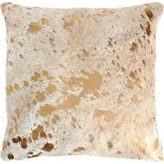 Pergamino Gold Metallic Cowhide 17 x 14 Throw Pillow (metallic gold/white), Multi