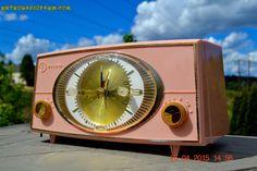 PINK CYCLOPIC Vintage Mid Century Retro Jetsons 1957 Bulova Model 140 Tube AM Clock Radio Works! by RetroRadioFarm on Etsy https://www.etsy.com/listing/231254359/pink-cyclopic-vintage-mid-century-retro