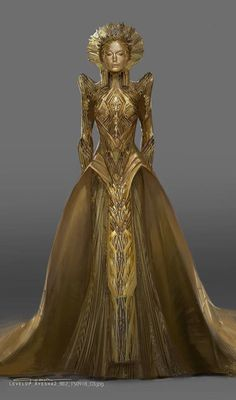 Dresses Alternate Ayesha Costume Designs For Guardians Of The Galaxy 2 Using A Room Humidifier For H Fashion Art, High Fashion, Fashion Design, Elizabeth Debicki, Fantasy Gowns, Fantasy Outfits, Fantasy Clothes, Business Mode, Character Outfits