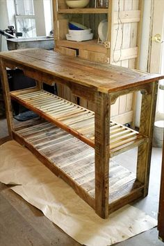 Pallet Furniture Projects Multipurpose Wooden Pallet Console Table - latest recycling trends of pallets by giving an example of this DIY pallet multipurpose console table having extra large dimensions, two built in shelves and Wooden Pallet Projects, Wooden Pallet Furniture, Wooden Pallets, Wooden Diy, Rustic Furniture, Diy Furniture, Furniture Design, Pallet Couch, Pallet Ideas