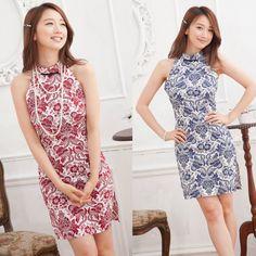 9766 Sleeveless Flora Cheong Sam (2 colors)