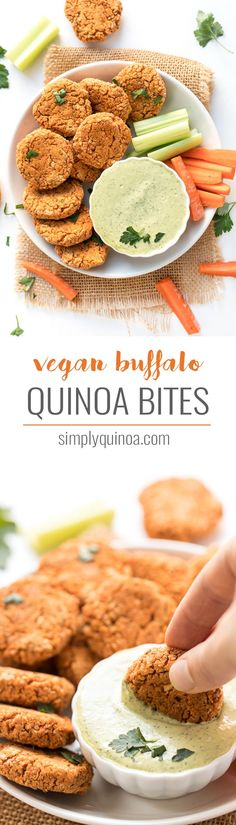 These simple VEGAN BUFFALO quinoa bites are a quick and healthy appetizer or snack, and are perfect for parties! Served with a creamy ranch dipping too! #veganrecipes #quinoabites #quinoarecipes #simplyquinoa #buffalobites #veganbuffalobites #veganranchdressing #veganranchdip