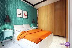 Este quarto é perfeito para quem quer inovar e deixar o ambiente divertido ao mesmo tempo, os contrastes das cores dos móveis com o papel de parede são super interessantes e deixam o ambiente amplo e bem destacado.