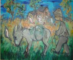 Man and his donkey South African Artists, Donkey, Arts And Crafts, Studio, Canvas, Painting, Image, Study, Painting Art