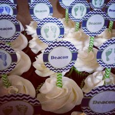 Navy & Green Chevron CupCake Baby Shower Toppers!  Cupcake Delivery Dallas | Birthday, Wedding Cupcakes Dallas, TX